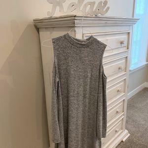 Ladies Woolen long sleeve open shoulder dress